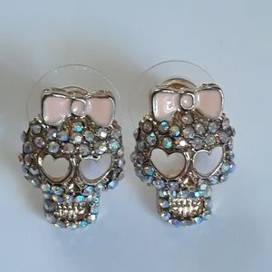 Sparkly Tiny Skulls With Pink Bows Earrings